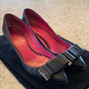 Mulberry Black Leather Kitten Heel w/ Bow Size 38